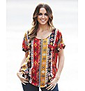 Aztec Print Short Sleeve Blouse