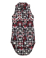 Ikat Print Sleeveless Longline Shirt