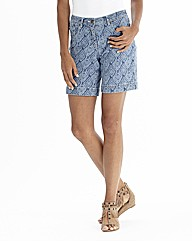 Ikat Print Denim Shorts