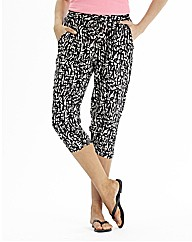 Mono Print Cropped Tapered Trousers