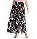 Floral Print Crepe Maxi Skirt