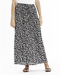 Mono Print Crepe Maxi Skirt