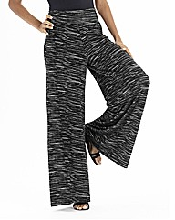Marled Effect Super Wide Leg Trousers