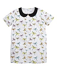 Dragonfly Print Peter Pan Collar Top