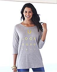Foil Print Logo Raglan Sleeve Top