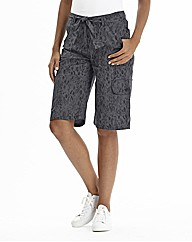 Print Self Belted Combat Shorts