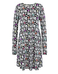 Monochrome Bird Print Jersey Swing Dress