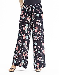 Long Floral Print Wide Leg Trousers