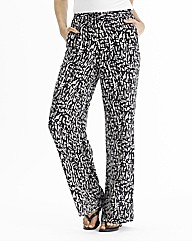 Long Mono Print Wide Leg Trousers