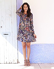 Tapestry Print Jersey Swing Dress