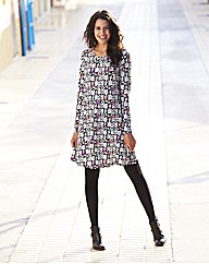 Tall Mono Bird Print Jersey Swing Dress