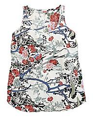 Oriental Print Woven Vest