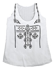 Regular Flocked Swing Sleeveless Blouse