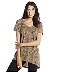 Animal Print Dipped Hem T-Shirt