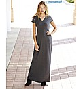 Stud Sleeve Jersey Maxi Dress