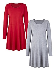 Pack of 2 Long Sleeve Skater Tunics