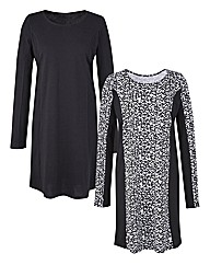 Pack of 2 Panelled Tunics - Animal Print