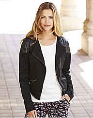 Biker Jacket with PU Trim