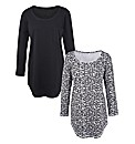 Animal Print Pack of 2 Shaped Hem Tops