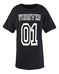 Forever Print Longline Boyfriend T-Shirt