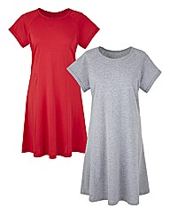 Pack of 2 Short Sleeve Swing Tunics