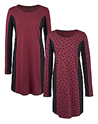Heart Print Pack of 2 Panelled Tunics
