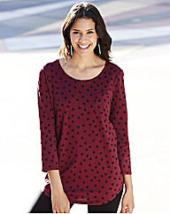 Heart Print Pack of 2 Shaped Hem Tops