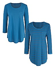 Stripe Pack of 2 Shaped Hem Tops