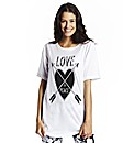 Love & Peace Longline Boyfriend T-Shirt