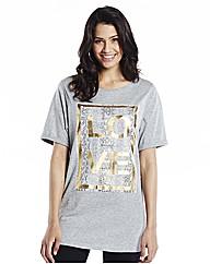 Love Print Longline Boyfriend T-Shirt
