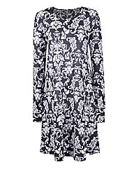 Baroque Print Jersey Swing Dress