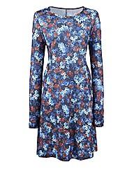 Floral Print Jersey Swing Dress