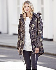 Camo Print Fur Hooded Parka Coat
