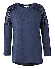 Sequin Sleeve Sweat Top