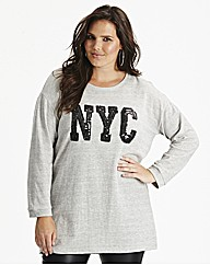 Sequin Logo Sweat Top