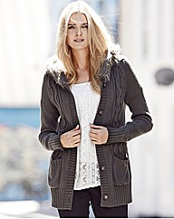 Fur Trim Hooded Cardigan