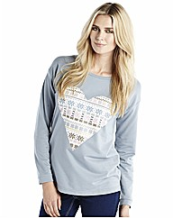 Heart Print Xmas Sweat Top