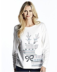 Reindeer Print Xmas Sweat Top