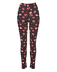 Xmas Motif Print High Waist Leggings