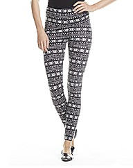 Snowflake Print High Waist Leggings