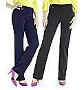Pack of 2 Pull on Trousers Length 29in