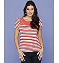 Lace Trim Stripe Jersey Top