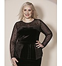 Claire Richards Velour Peplum Top