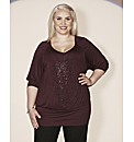 Claire Richards Stud Slouchy Jersey Top