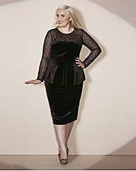 Claire Richards Velour Pencil Skirt