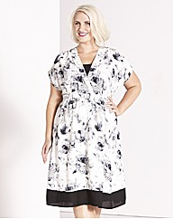 Claire Richards Lace Trim Print Dress