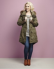 Claire Richards Fur Trim Oversized Parka