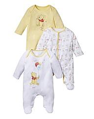 Winnie the Pooh Pack of 3 Sleepsuits