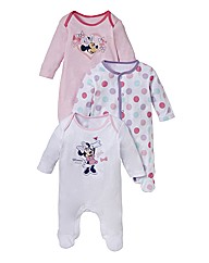 Minnie Mouse Pack of 3 Sleepsuits