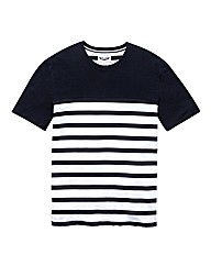 Label J Stripe Panel T-Shirt L